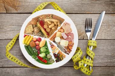 dieta do tipo metabólico no prato, mostrando os tipos da dieta